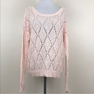 American Eagle Outfitters Pink Lace Sweater